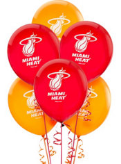 Miami Heat Latex Balloon 12in 6ct