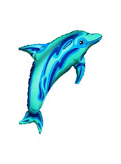 Foil Blue Dolphin Balloon 37in