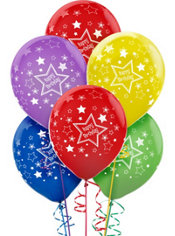 Latex Star Birthday Printed Balloons 12in 20ct