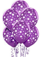 Latex New Purple Star Printed Balloons 12in 6ct