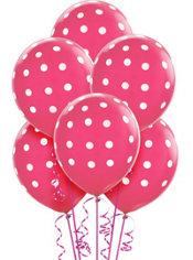 Bright Pink Polka Dot Balloons 6ct