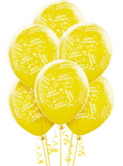 Latex Yellow Confetti Birthday Printed Balloons 12in 6ct