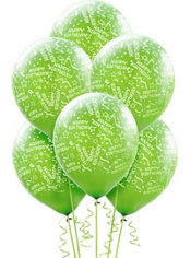 Latex Kiwi Confetti Birthday Printed Balloons 12in 6ct