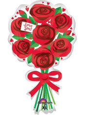 Love You Red Roses Valentines Day Balloon 30in