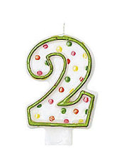 Number 2 Polka Dot Birthday Candle 3in