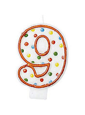 Number 9 Polka Dot Birthday Candle 3in