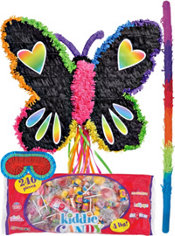 Pull String Neon Butterfly Pinata Kit