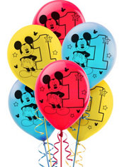 1st Birthday Mickey Mouse Balloons 15ct