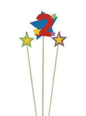 Number 2 Star Birthday Toothpick Candles 3ct