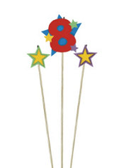 Number 8 Birthday Candle and Stars 3ct