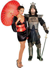 Red Japanese Doll and Samurai Warrior Couples Costumes