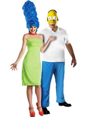 Deluxe Marge Simpson and Deluxe Homer Simpson Couples Costumes