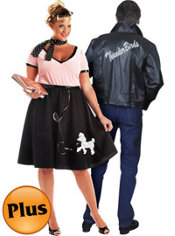 Plus Size 50's Sweetheart Poodle Dress and Plus Size 50's Thunderbird Jacket Couples Costumes