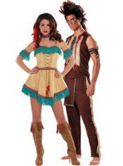 Noble Warrior and Sexy Native American Couples Costumes