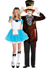 Enchanted Alice and Deluxe Mad Hatter Alice in Wonderland Couples Costumes