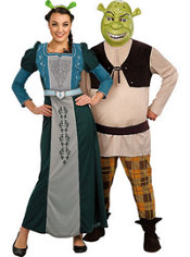 Deluxe Princess Fiona and Shrek Couples Costumes