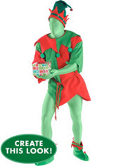 Adult Classic Elf Morphsuit Costume Set
