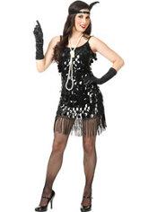 Adult Black Sequin Flapper Costume