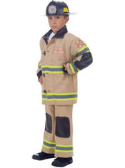 Boys Tan Fireman Costume Deluxe