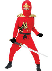 Boys Red Ninja Avenger Costume Deluxe