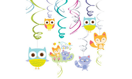 Woodland baby shower party supplies party city for Animal decoration games for girls