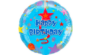 Foil Swirl Happy Birthday Balloon 32in