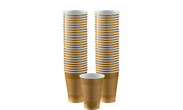 Gold Plastic Cups 12oz 50ct