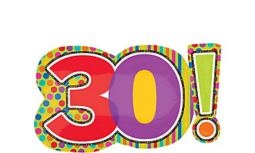 30th Birthday Dots & Stripes Foil Balloon 29in