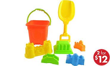 Shovel & Sand Castle Bucket Beach Toy Set 5pc