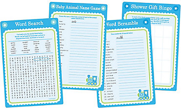 Welcome Little One Boy Baby Shower Game Kit for 20