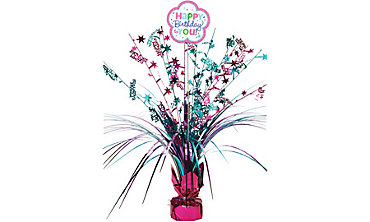 Purple & Teal Pastel Birthday Spray Centerpiece