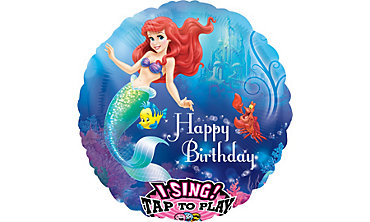 Happy Birthday Little Mermaid Balloon - Singing