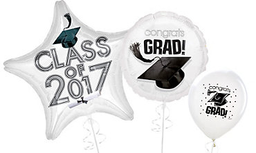 White Graduation Balloons