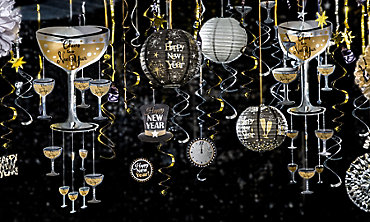 Black, Gold & Silver New Year's Eve Hanging Decorations