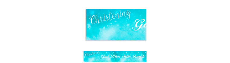 Custom Handwriting on Ombre Blue Banner