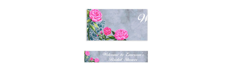 Custom Floral Brush Stroke Banner
