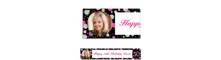 Custom Pink Sparkling Celebration 50 Photo Banner