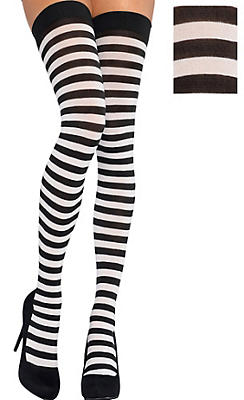 Adult Black and White Striped Thigh-High Stockings
