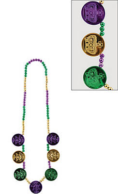 Coin Medallion Mardi Gras Bead Necklace