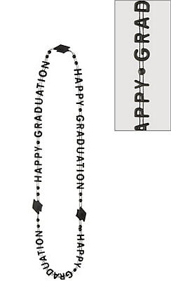 Black Happy Graduation Bead Necklaces 3ct