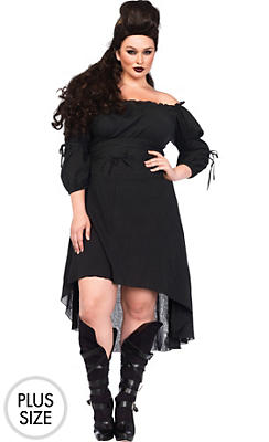 Black Peasant Dress Plus Size