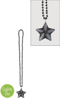 Light-Up Black Star Pendant Bead Necklace