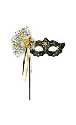 Black, Gold & Silver Glitter 2017 Masquerade Mask on a Stick