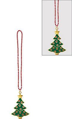 Christmas Tree Pendant Bead Necklace