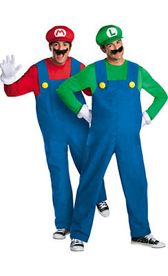 Adult Mario & Luigi Couples Costumes Plus Size