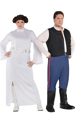 Adult Han Solo & Princess Leia Couples Costumes Plus Size - Star Wars