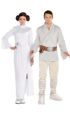 Adult Luke Skywalker & Princess Leia Couples Costumes - Star Wars