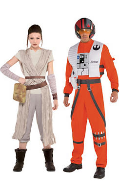 Adult Poe Dameron & Rey Couples Costumes - Star Wars 7: The Force Awakens
