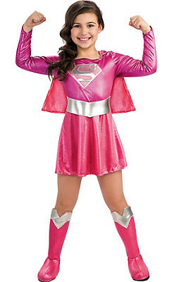 Girls Pink Supergirl Costume - Superman