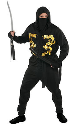 Adult Black Dragon Ninja Costume Plus Size